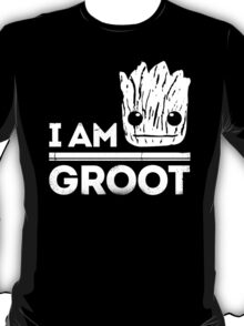 "Guardians Of The Galaxy ""I Am Groot"" Quote (White) T-Shirt"
