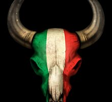 Italian Flag Bull Skull by Jeff Bartels