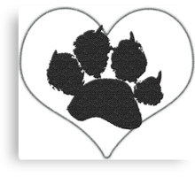 Paw Print In Heart 1 Canvas Print