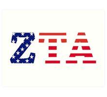 zeta tau alpha american flag Art Print