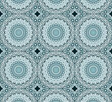 Shades of Blue Kaleidoscope Flowers Design by Mercury McCutcheon