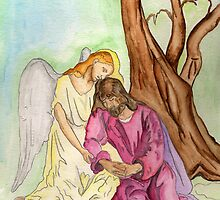 An Angel Ministers to Jesus  by Anne Gitto