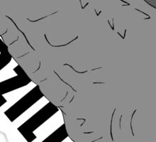 godzilla greyscale w/ text Sticker