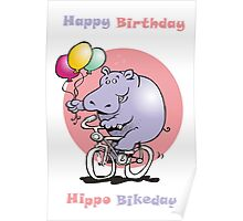 hippo on a bike Poster