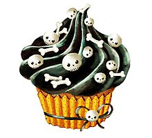 Black Halloween Cupcake Photographic Print