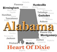Alabama State Pride Map Silhouette  by KWJphotoart