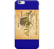 Aged Alaska State Pride Map Silhouette  iPhone Case/Skin