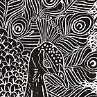 Peacock Linocut in Black by Adam Regester