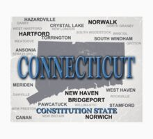 Aged Connecticut State Pride Map Kids Clothes