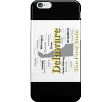Delaware State Pride Map Silhouette  iPhone Case/Skin