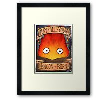 Howl's Moving Castle Illustration - CALCIFER Framed Print