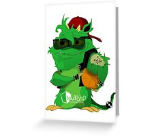 Green monster holding a basket ball Greeting Card