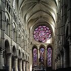East end Rose window and altar Cathedral Laon France 198405070043 by Fred Mitchell