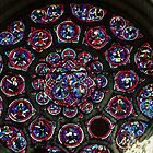 East end rose window Cathedral Laon France 198405070044  by Fred Mitchell