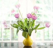 Pink Tulips In The Window by Lois  Bryan