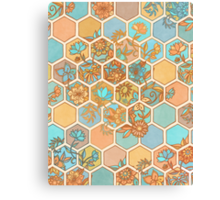 Golden Honeycomb Tangle - hexagon doodle in peach, blue, mint & cream Canvas Print
