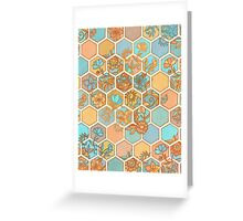 Golden Honeycomb Tangle - hexagon doodle in peach, blue, mint & cream Greeting Card