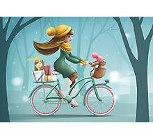 Girl riding a bike Photographic Print