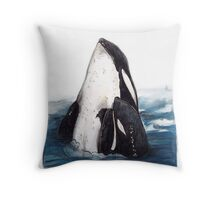 Orca and Baby (Killer Whale) Throw Pillow