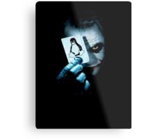 The joker holding linux penguin card Metal Print