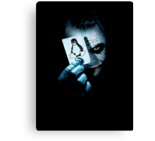 The joker holding linux penguin card Canvas Print