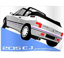Peugeot 205 CJ cabriolet white Poster