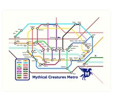 Epic Mythical Creatures Underground Map Art Print