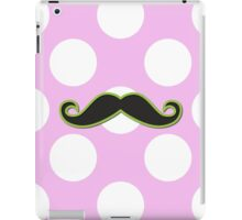 Curly Moustache, Polka Dots - Black Green Pink iPad Case/Skin