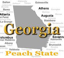 Georgia State Pride Map Silhouette  by KWJphotoart