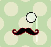 Moustache, Monocle, Polka Dots - Black Green Red by sitnica