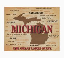 Aged Michigan State Pride Map Silhouette  Kids Clothes
