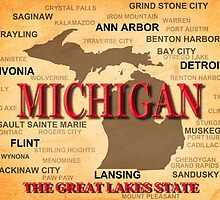 Aged Michigan State Pride Map Silhouette  by KWJphotoart