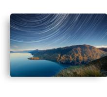 Lake Hawea startrails 1 Canvas Print