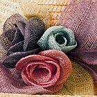 Raffia Roses on Hat  by Sandra Foster