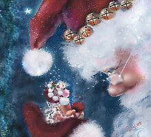 Santa and Elf Christmas Cheer by Robin Pushe'e