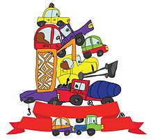 Child's hand draw cars. Funny Doodle composition by Tatiakost
