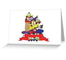 Child's hand draw cars. Funny Doodle composition Greeting Card