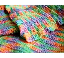 Multicolored Knitted Baby Blanket Photographic Print