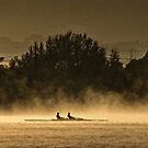 Rowers in the Mist on Lake Burley Griffin in Canberra/ACT/Australia by Wolf Sverak