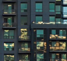 Apartment Tower Sunset Reflections Sticker