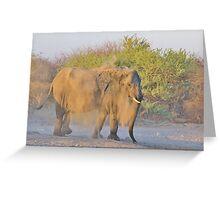 African Elephant - Dust Bath Action Greeting Card
