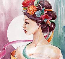Watercolor girl in flower wreath by olarty
