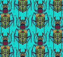 flower beetle turquoise by Sharon Turner