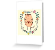 Cute cat holding heart Greeting Card