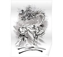 Karate kyokushinkai whit dragon poster Poster