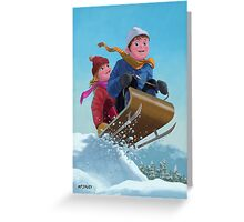 children snow sleigh ride Greeting Card