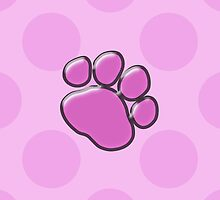 Plastic Dog Paws, Traces, Paw-prints - Pink Black  by sitnica