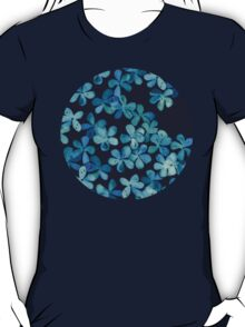 Hand Painted Floral Pattern in Teal & Navy Blue T-Shirt