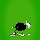 Black Sheep watering Daisies by vivendulies