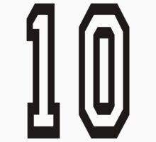 TEAM SPORTS NUMBER, 10, TEN, TENTH, Competition Kids Clothes